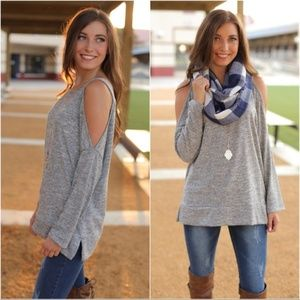 Heather Gray Long Sleeve Cold Shoulder Tunic